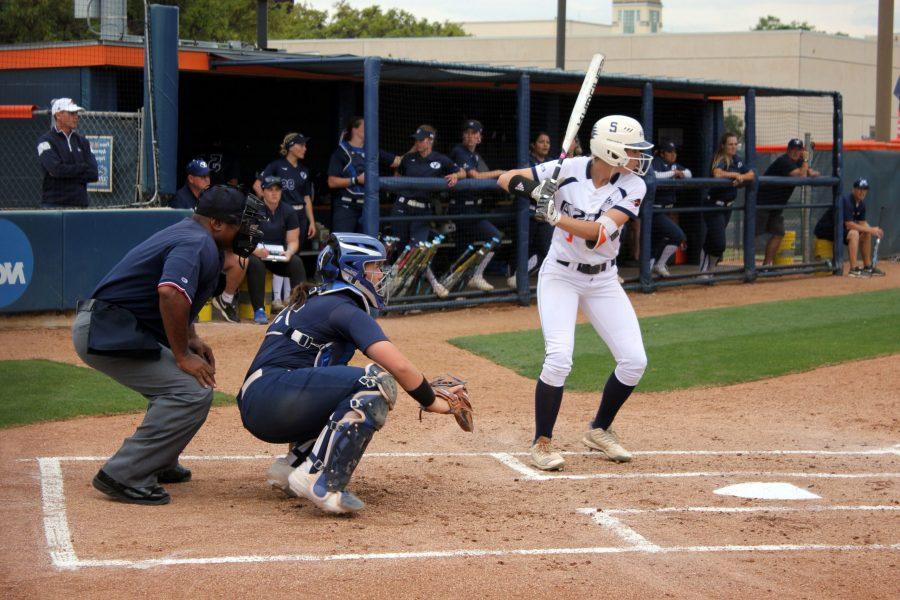Celeste Loughman bats.