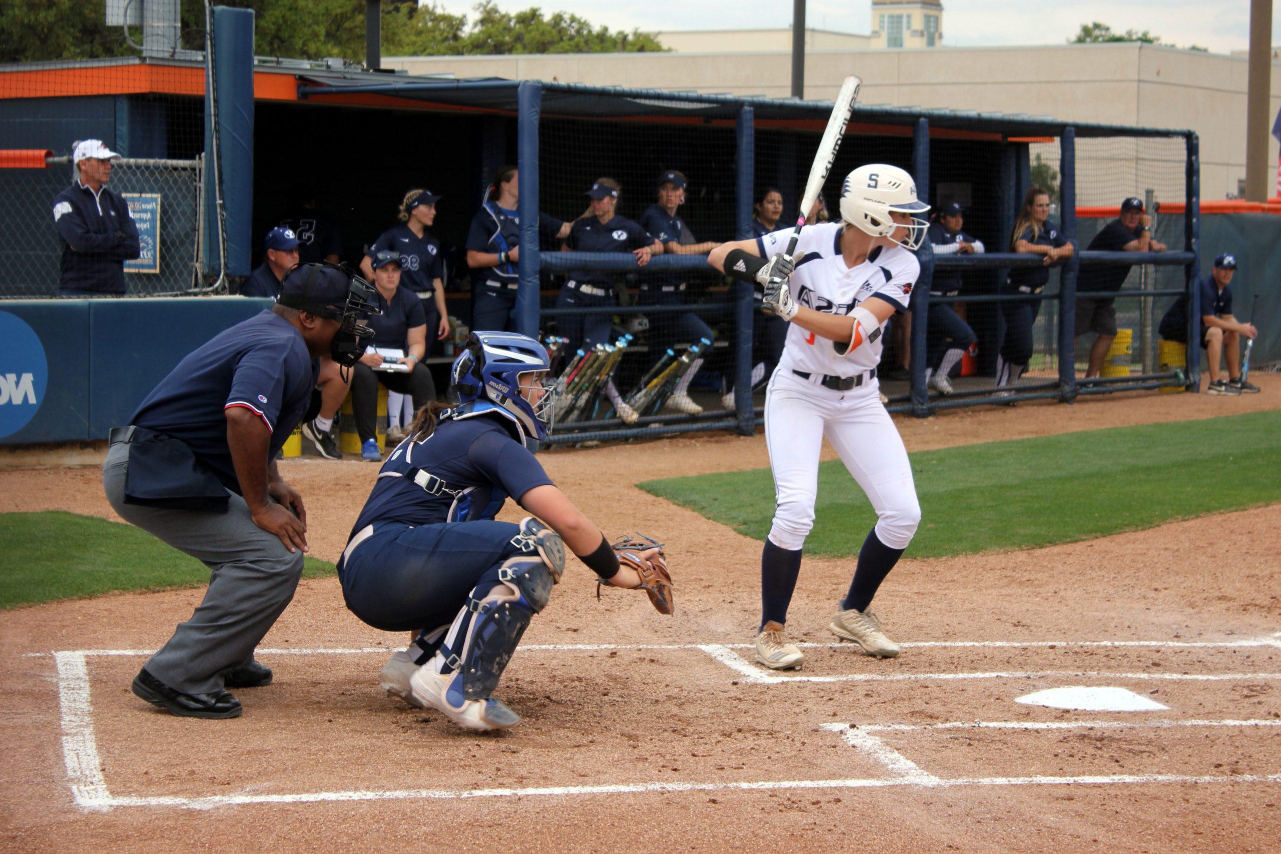 Celeste Loughman bats. Heather Montoya/The Paisano
