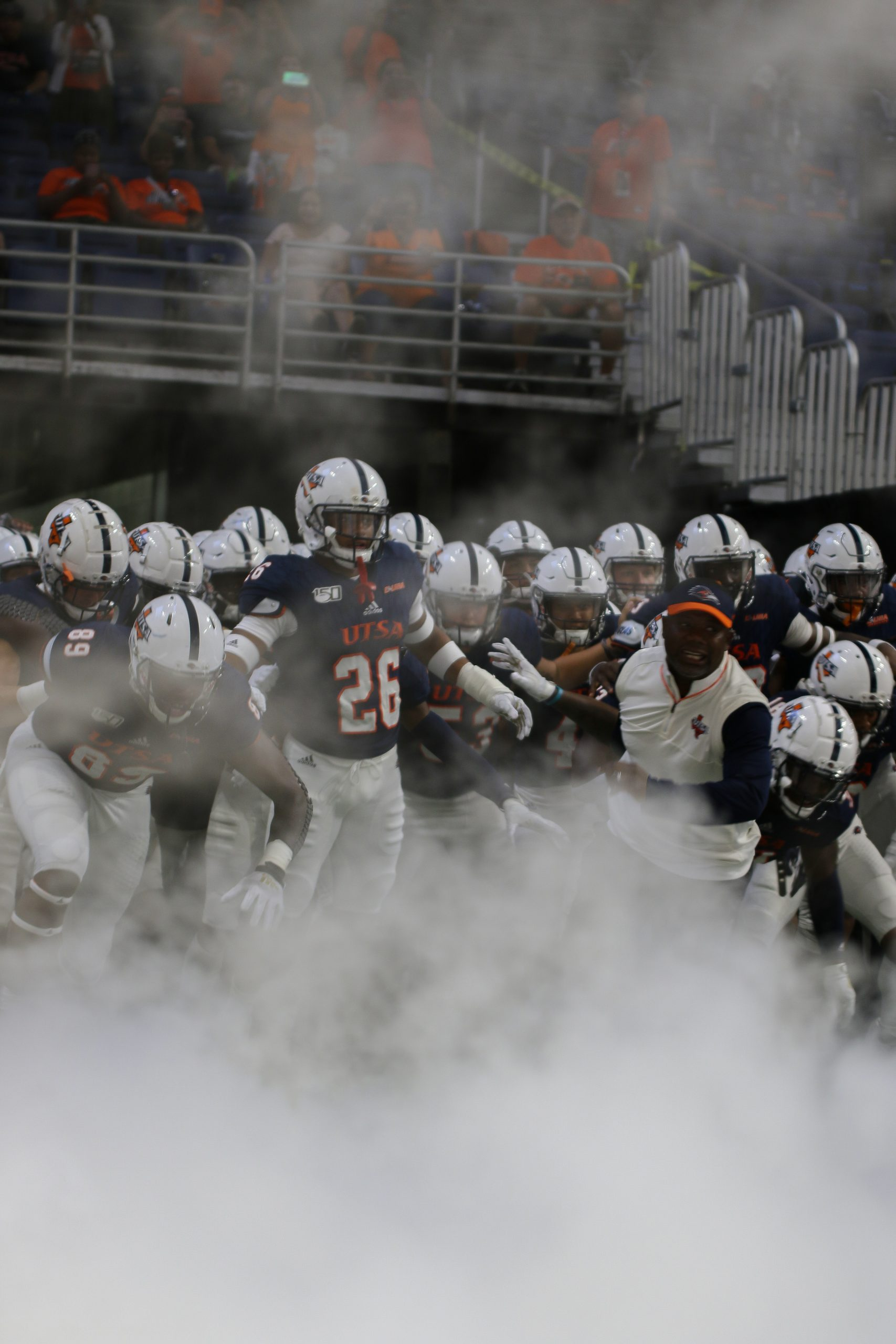 The Roadrunners in the tunnel shortly before running out against Army.Photo by Lindsey Thomas