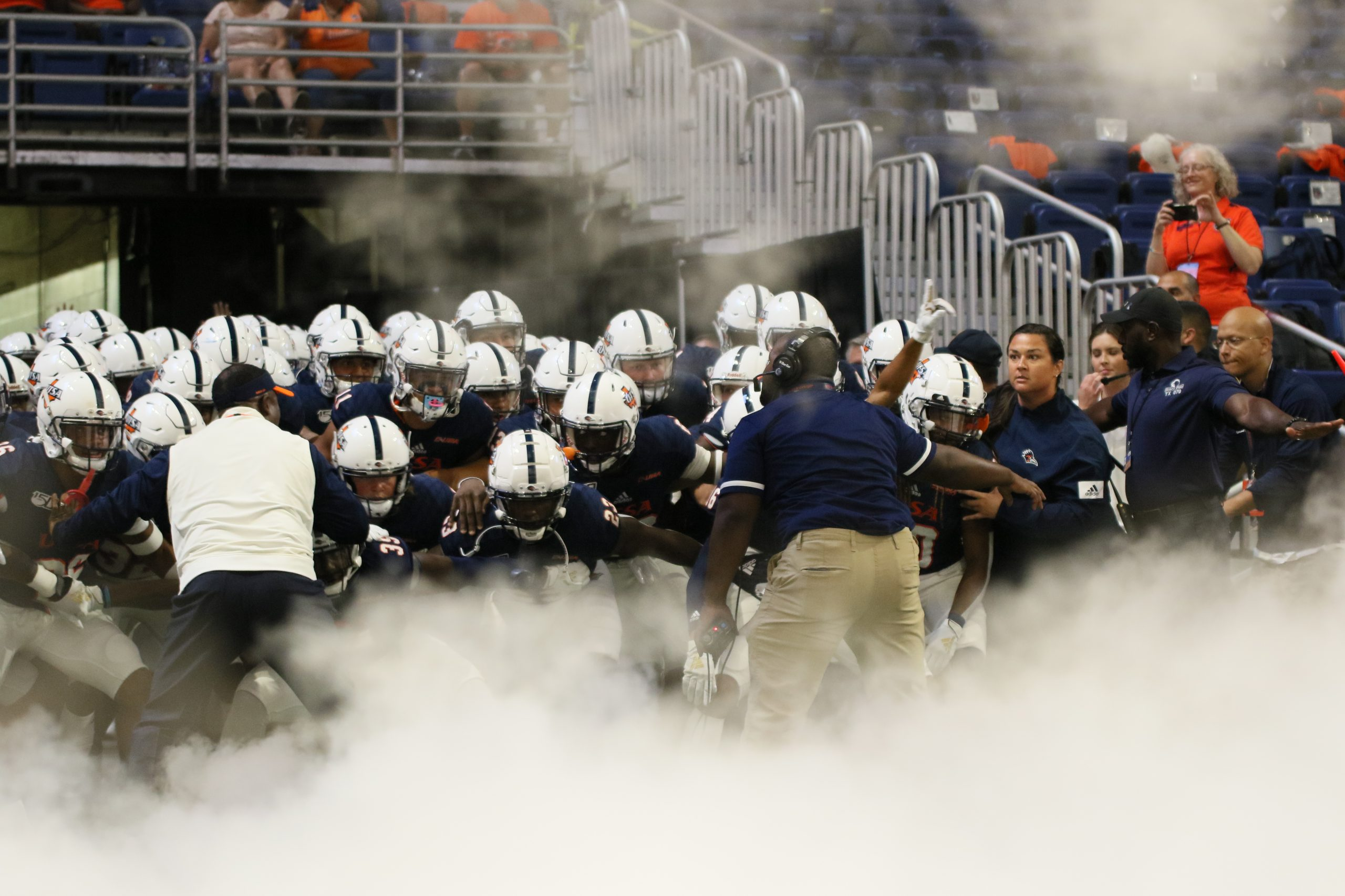 Frank Wilson and his team taking the field before a game. Photo by Lindsey Thomas