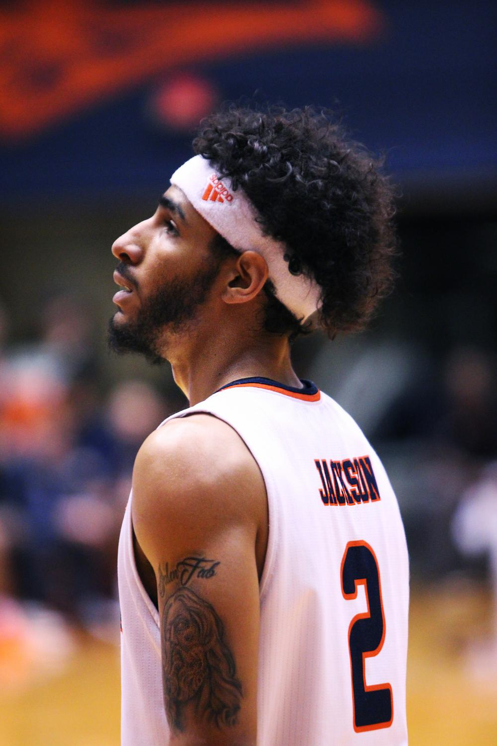 Jhivvan Jackson looks on during a game against LA Tech.