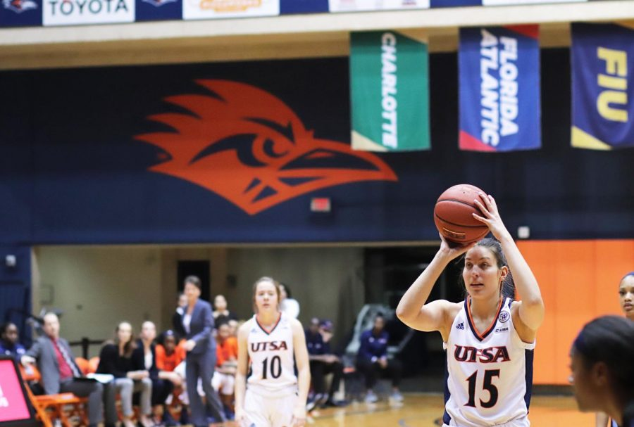 Timea Toth shoots a free throw after being fouled. The Roadrunners dropped this game to the Monarchs, 43-62.