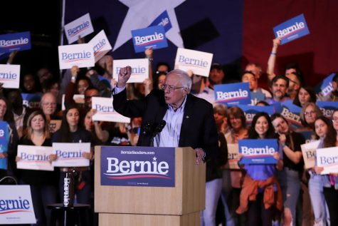 Senator Bernie Sanders celebrates Nevada caucus victory. Sanders is visiting Texas approximately a week away from the state's primary.