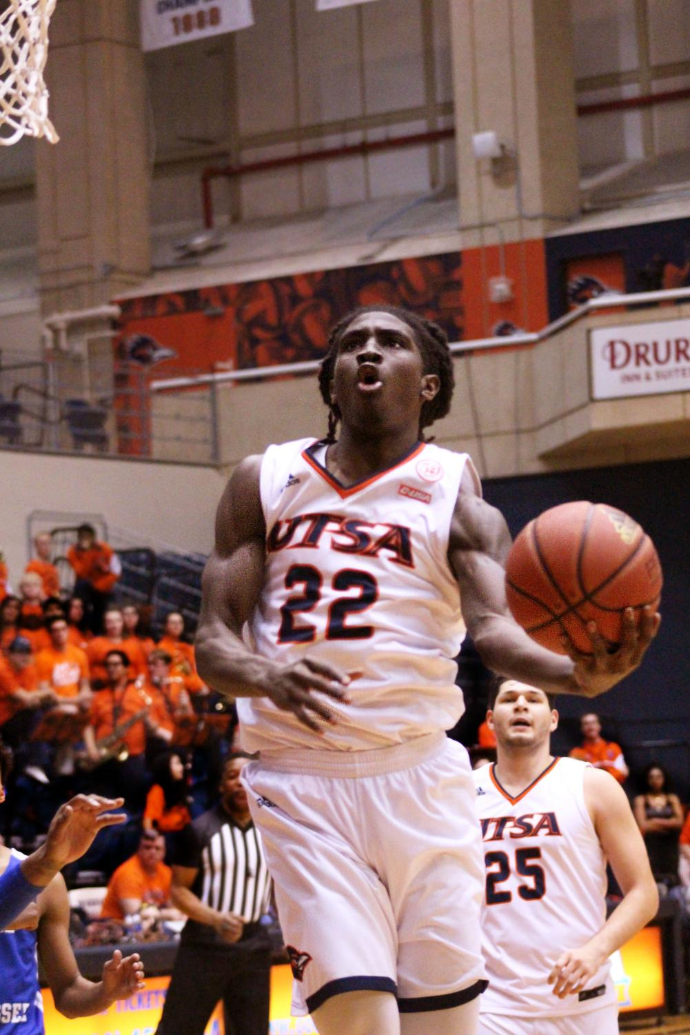 Keaton Wallace brings the ball up to make a lay-up. Wallace is the second half of Conference USA's highest scoring duo.