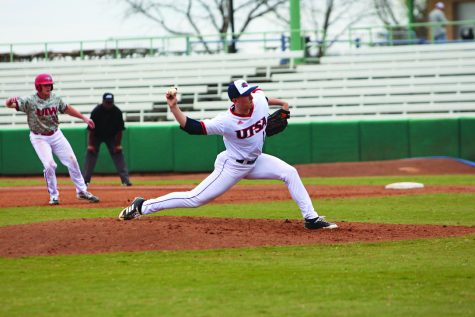 Pepper Jones throws a pitch against the University of the Incarnate Word Cardinals during the Alamo Irish Classic on Feb. 23 at Nelson W. Wolff Stadium.
