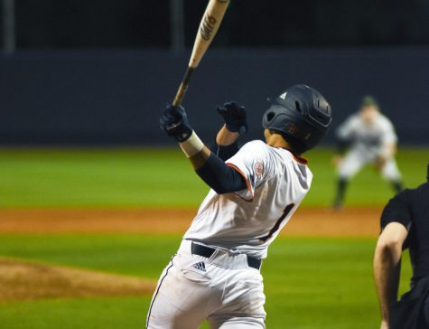 Jonathan Tapia swings at a pitch in a game. UTSA was about to kickoff conference play against the Charlotte 49ers when the outbreak of COVID-19 halted all sports in the United States and around the world Photo by Jack Myer.