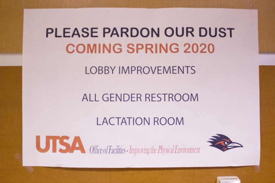Sign posted outside of JPL construction for new all-gender bathroom. The JPL all-gender bathroom will be the university's 12th.