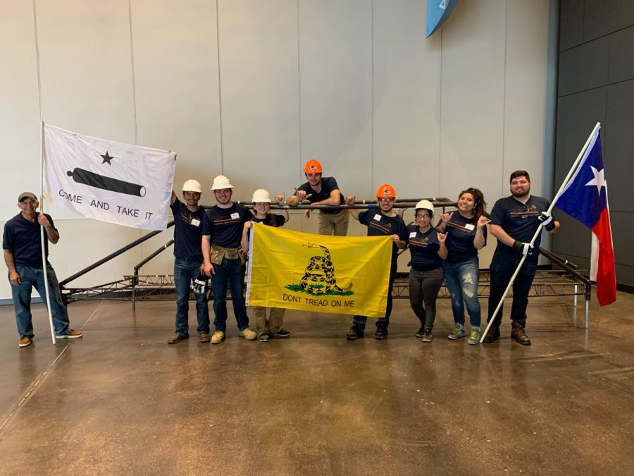 The UTSA Steel Bridge Team celebrates their regional competition victory in front of their bridge. They will go on to the national competition at Virginia Tech in May.
