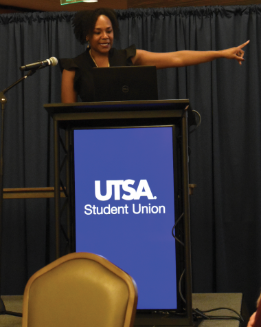 Bree Newsome shares her experiences with social activism. The event was held in the Denman Ballroom.