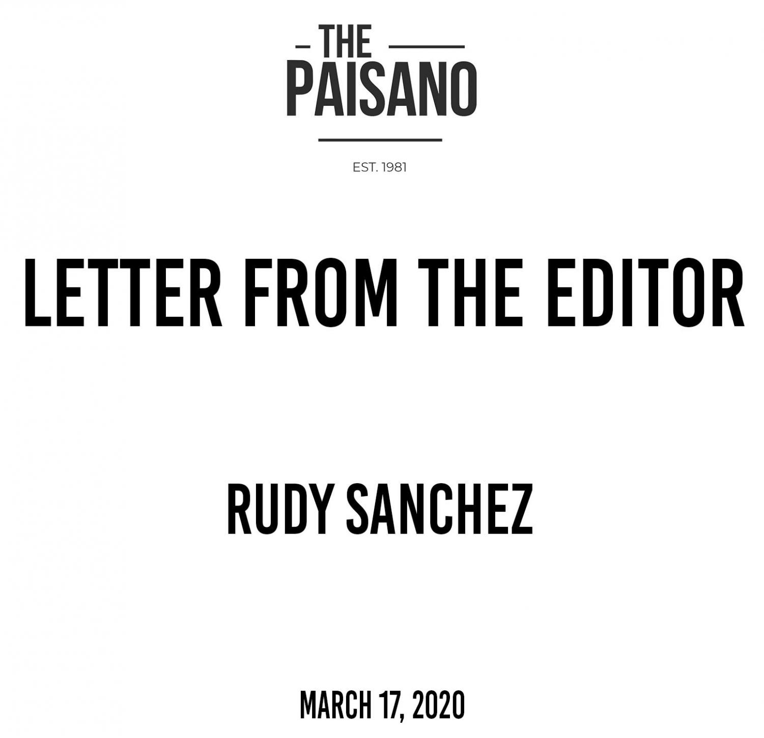 Letter from Editor-in-Chief Rudy Sanchez