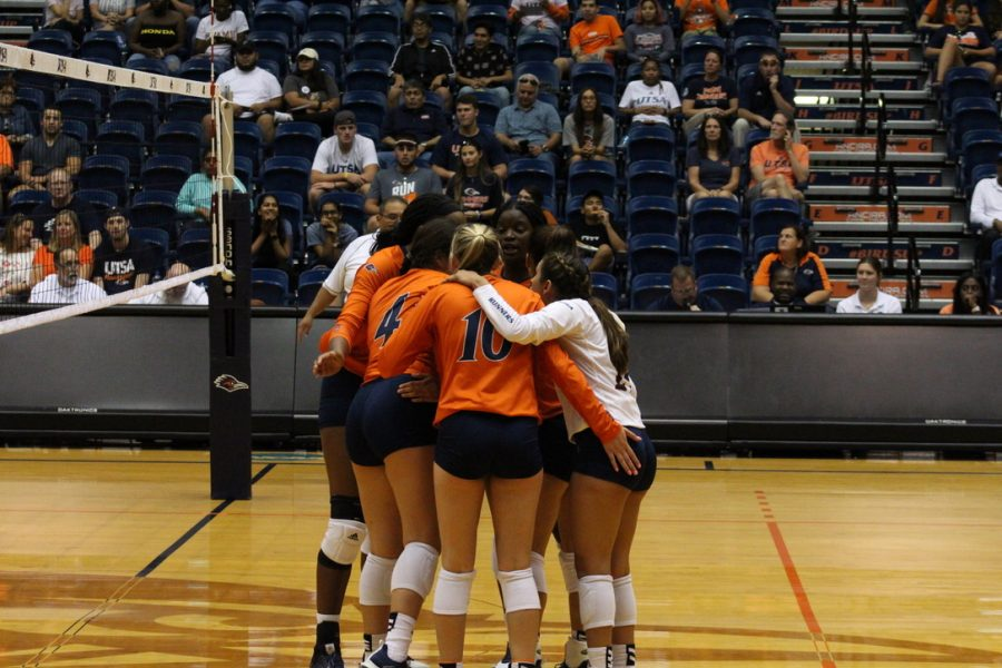 The Roadrunners huddling up during a match earlier in the season. The 'Runners lost four seniors and will look to have their third consecutive winning season.