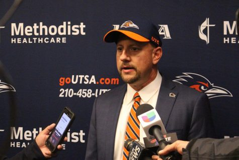 Jeff Traylor speaking to the media during his introductory press meeting. Traylor becomes the third head coach in UTSA football history.