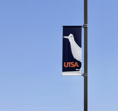 A Roadrunner banner at UTSA. The university has an emergency financial fund for students being negatively impacted by COVID-19.