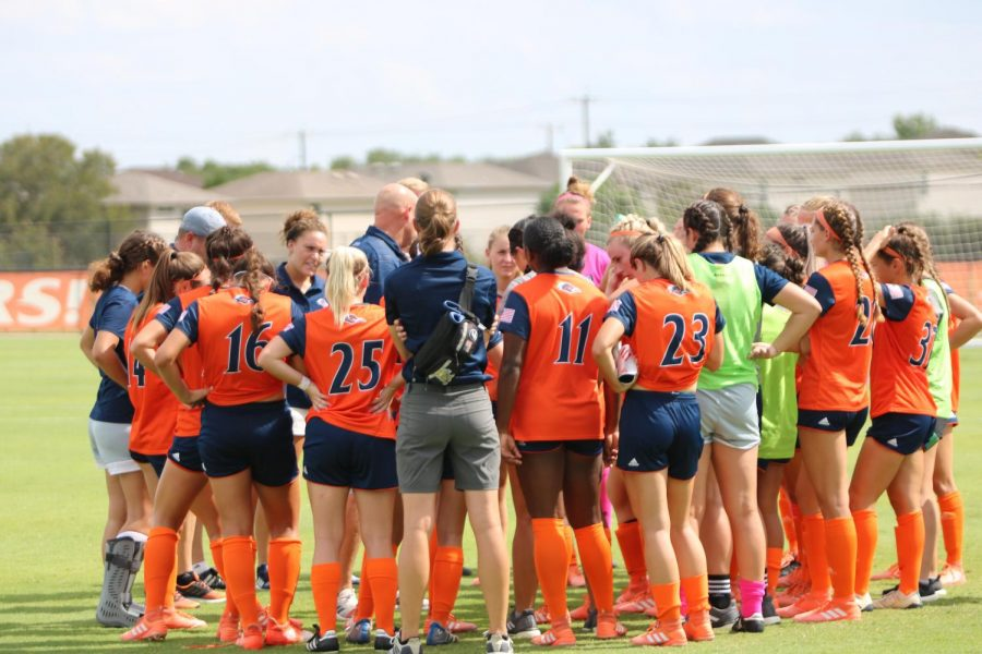 UTSA Women's soccer huddles up after their matchup against the Rice Owls during the 2019-2020 season.