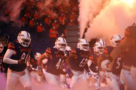 The 'Runners take the field before last week's game against the Stephen F. Austin Lumberjacks. UTSA won the game 24-10.