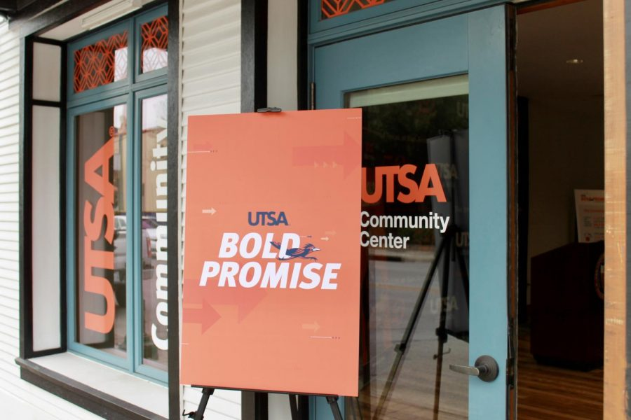 A sign advertising the Bold Promise program at UTSA's announcement ceremony at the Westside Community Center in December 2019. 72% of Bold Promise recipients are first-generation college students.