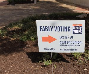 A sign with information about where to vote and how long the early voting period will last. UTSA will be hosting early voting and Election Day voting in the H-E-B Student Union Ballroom.