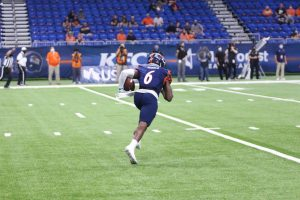 Wide receiver Brennon Dingle returns a kickoff during UTSA's game against Army in early October. Dingle and the rest of the offense hope to put on another show this weekend in Mississippi