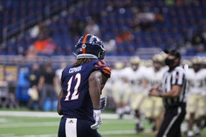 Wide receiver Joshua Cephus jogs onto the field during UTSA's game against Army. Cephus and the offense will need to score early and often if they hope to overcome North Texas.
