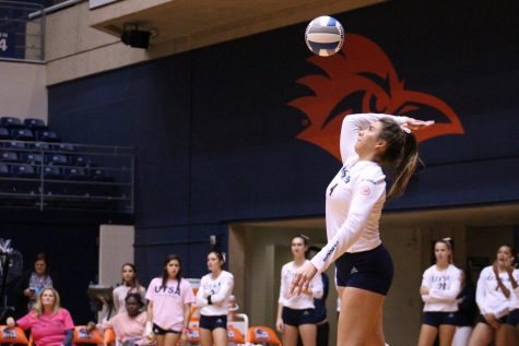 Hannah Lopez serves the ball into play for UTSA in a game last season. Lopez registered back to back double-doubles to begin the season.