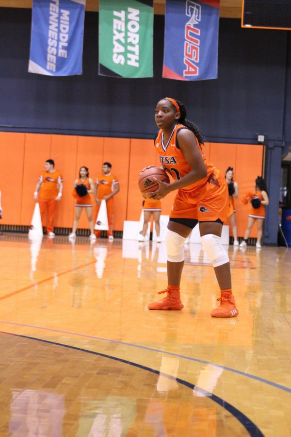 Ceyenne Mass surveys the court in a game last year against North Texas.  Mass has appeared in nine games coming off of the bench for UTSA this season.