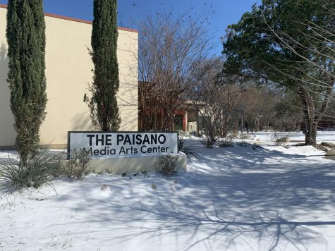 The Paisano building was covered in snow after the winter storm.