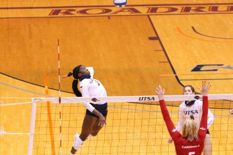 Bianca Ejesieme goes for a cross court spike during the game against UIW. Ejesieme tallied a career-best 17 kills and five blocks during the game, helping earn her Conference USA Player of the Week honors.