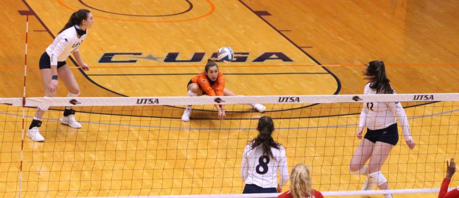 UTSA defensive specialist Mia Ybarra digs a ball during a game earlier this season. The junior from San Antonio registered a season high 33 digs last Friday against SMU.