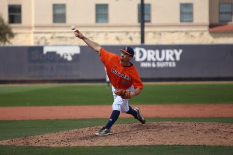 Shane Daughety delivers a pitch during a game against UT Arlington earlier this season. Daughety is off to a fast start on the mound, holding a 2-0 record in four appearances this season, all while allowing 6.75 hits and striking out 9.4 batters per nine innings.