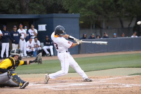 Nick Thornquist drives a ball during a game against Southern Mississippi on Thursday, April 1. Thornquist has helped lead the 'Runners to an 11-9 record to start the year.
