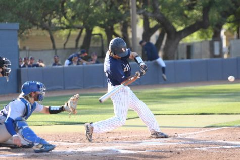 Nick Thornquist takes a swing at a pitch during a game earlier this season. Thornquist has brought tremendous power to the middle of the Runners lineup as he currently leads the team in home runs with seven.