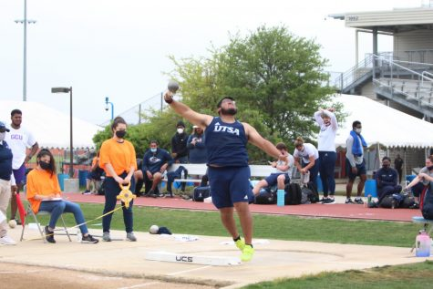 Jorge Ayala launches a throw during the shot put at the Roadrunner Invitational two weeks ago. Ayala has recorded one podium finish for the Runners this season, which came back in January at the Aggie Invitational.