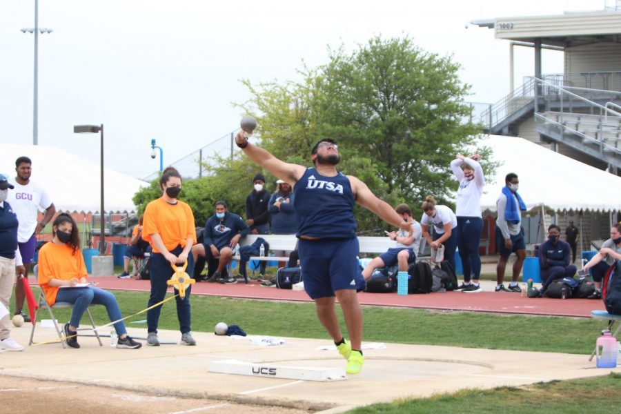 Jorge Ayala launches a throw during the shot put at the Roadrunner Invitational two weeks ago. Ayala has recorded one podium finish for the 'Runners this season, which came back in January at the Aggie Invitational.