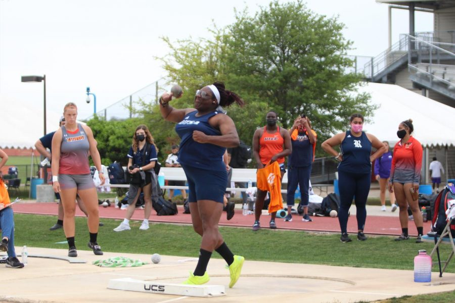 Maia Campbell launches a throw during the shot put on Friday morning. Campbell has been on a tear for UTSA this season, adding three more podium finishes during this week's meet bringing her total to five this season.