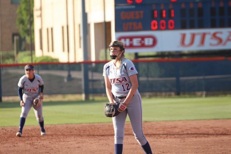Madison Nelson begins her motion to deliver the ball to home plate during the game against McNeese State on Wednesday night. Nelson allowed six hits and one earned run while striking out one in four innings of work against the Cowgirls.