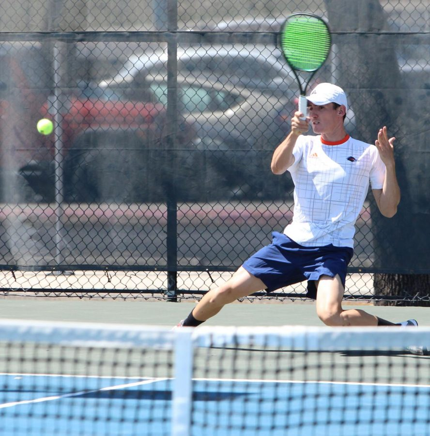 Joao Ceolin returns a ball during a match earlier this year. Ceolin finished the season with a 13-3 record in singles play and won his last 10 in a row.
