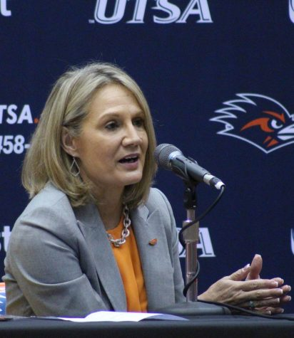 Women's head basketball coach Karen Aston answers questions from the media during her introductory press conference last month. Aston has wasted no time in filling out her coaching staff and shaping the program in her image.
