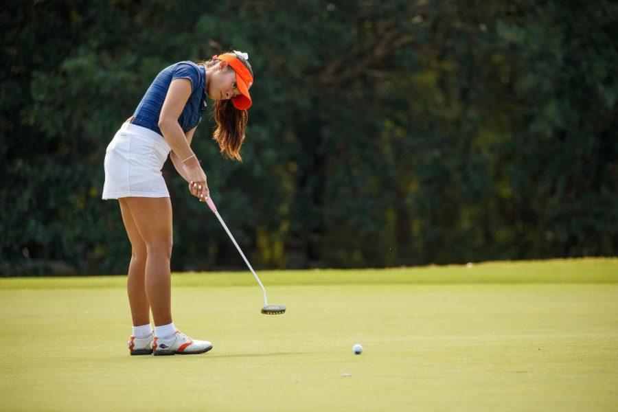 Camryn Carreon rolls in a putt during the Conference USA Women's Golf Championship. Carreon recorded four top 20 finishes including a pair of top fives en route to being named Second Team All-Conference.