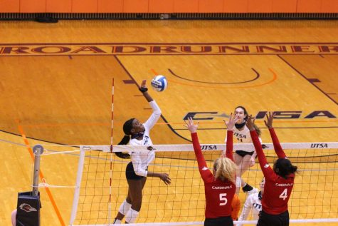 Bianca Ejesieme spikes a ball during a game last season against UIW. Ejesieme has appeared in six games for UTSA this season and is currently averaging six kills a match.