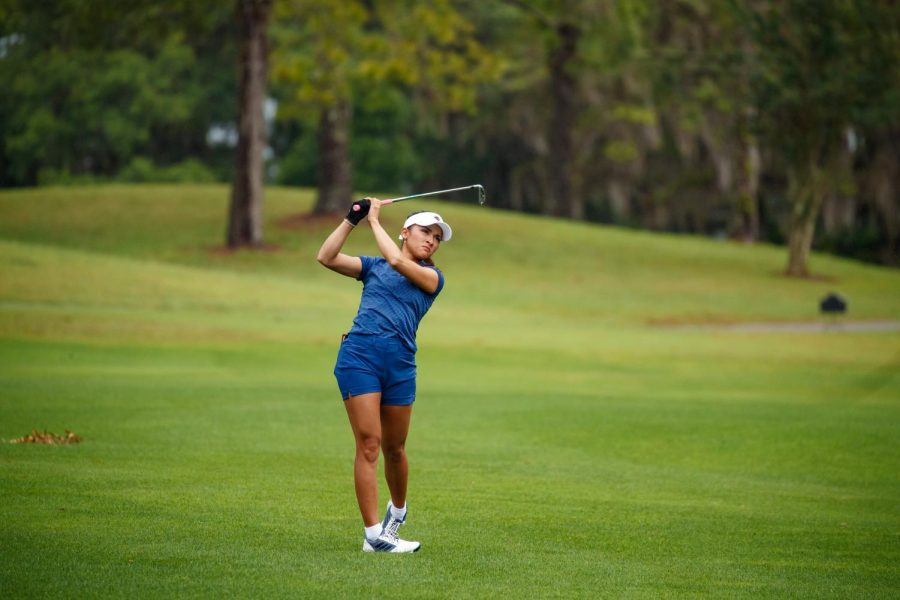 Camryn Carreon hits a ball from the fairway during last years C-USA Championships. Carreon finished as the third highest placed Runner in the field in a tie for 46th. Photo courtesy of Conference USA