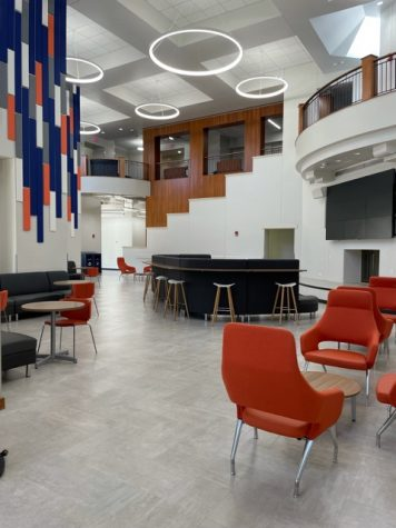 Student Union seating area near the new Freebirds and Panda Express.