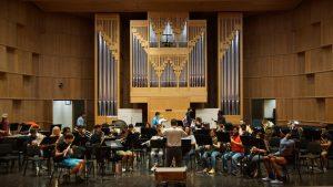 Music majors rehearsing in the Recital Hall. Dustin Vickers/The Paisano