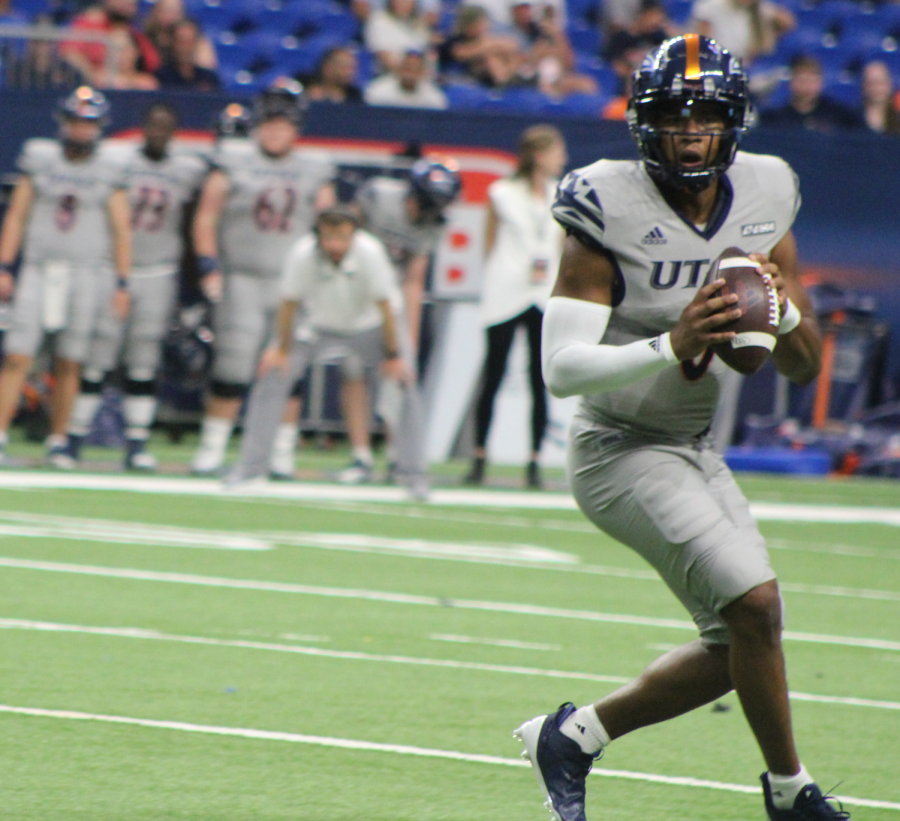 Frank Harris drops back to pass during a game against Lamar earlier this season. Harris had a career dat against WKU, passing for 349 yards, six touchdowns, rushing for 51 yards and catching a 23-yard touchdown pass, a performance that was rewarded by being named the C-USA Offensive Player of the Week. Seva Hester/The Paisano