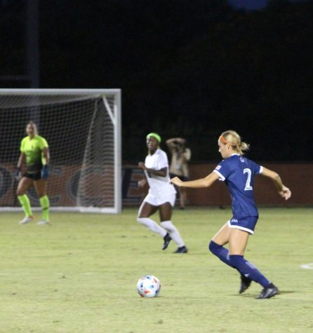 Kendall Kloza takes a shot during a game against UNT earlier this year. Kloza has recorded two goals and one assist so far this season, including the game-winning goal  in a 1-0 victory over A&M-Corpus Christi. Bella Nieto/The Paisano